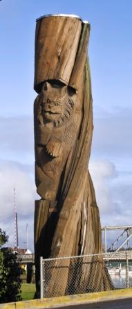 Bobcat Bridge Post by Louis Benanto, Jr.  Carved Wood Location: Wishkah River Bridge on Heron