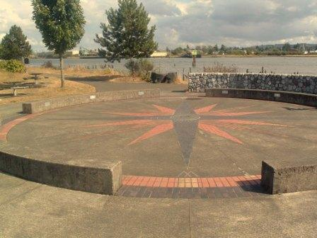 Compass Rose - East Bank of Wishkah River at entrance to Chehalis River